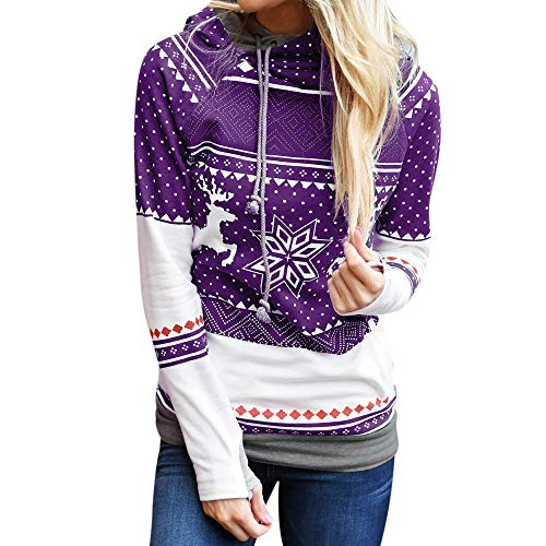 BaZhaHei Mode Damen Weihnachten Frauen Zipper Dots Print Tops Kapuzensweatshirt Frohe Weihnachten Schneeflocke Gedruckt Casual Sweatshirt Bluse Sweatshirt