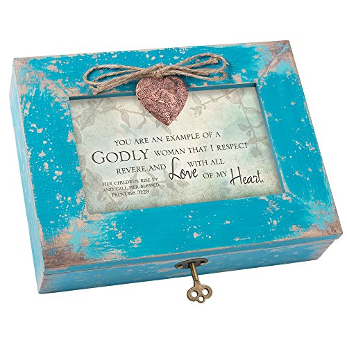 Cottage Garden Göttliche Frau respektvoll und I Love Blaugrün Holz Medaillon Schmuck Musik Box Melodie Amazing Grace