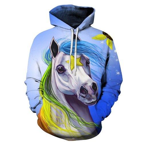 Einhorn Pferd gedruckt Hoodies 3D-Sweatshirts Damen Herren Pullover Unisex 6XL Trainingsanzüge Plus verlängern Qualität Pocket Jacket neuen Mantel, TT013, XXL