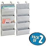 mDesign 2er-Set Schrank-Organizer in Fischgrätmuster – Hängeorganizer mit 4 Fächern für Büro und Arbeitszimmer – Mehrzweckschrank für die Tür – grau/creme
