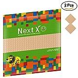 NextX 2 Stück Bauplatte für Classic Bausteine Plastik Grundplatte 25 x 25 cm - Sand Weihnachtsgeschenk