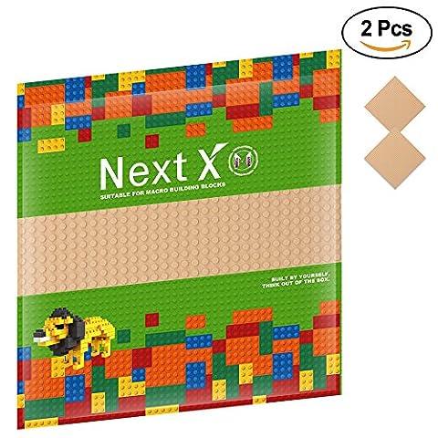 NextX 2 Stück Grundplatte für Classic Bausteine Plastik Bauplatte 25 x 25 cm - Sand (Ghostbusters Kostüm Diy)