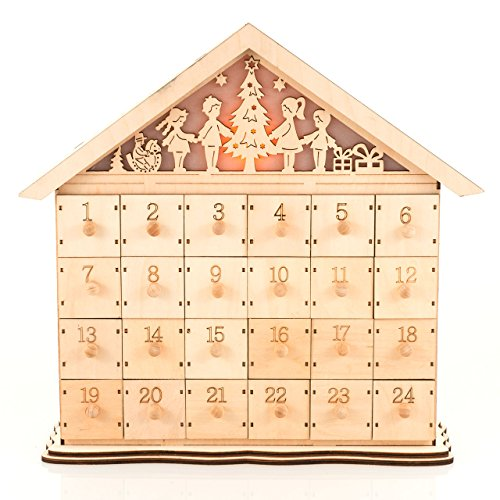 PAJOMA 14743  Adventskalender Bethlehem zum Befüllen, Holz , L 39 x B 11,5 x H 37 cm