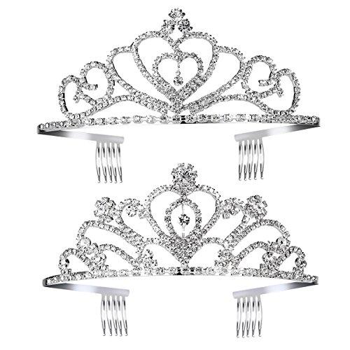 FRCOLOR Prinzessin Tiara Set 2 stücke Kinder Mädchen Kristall Tiara Kronen Prinzessin Haarschmuck -