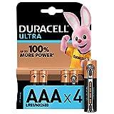 Duracell Ultra AAA con Powercheck, Batterie Ministilo Alcaline, Confezione da 4 Pacco del Produttore, 1.5 volt LR03 MN2400 (il Design della Confezione Potrebbe Variare)