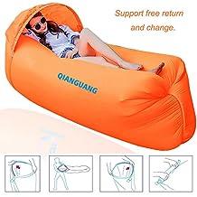QG® Original diseño 0,9kg portátil rápido inflable sofá/cama/barco para al aire libre senderismo camping salón playa y jardín ocio bolsas de dormir cama para Camping con sol paraguas, naranja