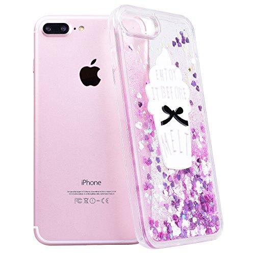 WE LOVE CASE iPhone 7 Plus 5,5 Hülle iPhone 7 Plus 5,5 Schutzhülle Handyhülle Im Rote Liebe Transparent Durchsichtig Glitzern Funkeln Quicksand Treibsand Muster Handytasche Handycover PC Harte Case An Rosa Eis