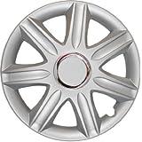 4 Tapacubos Tapacubos tipo Samoa Lux Plata con anillo cromado, apta para Hyundai 14 pulgadas