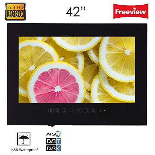 Soulaca 42  Frameless IP66 Waterproof Andriod Freeview Smart Digital LED TV for Bathroom  Hotel and Kitchenn  Amazon Fire TV Stick Compatible  with Wi-fi HDMI White