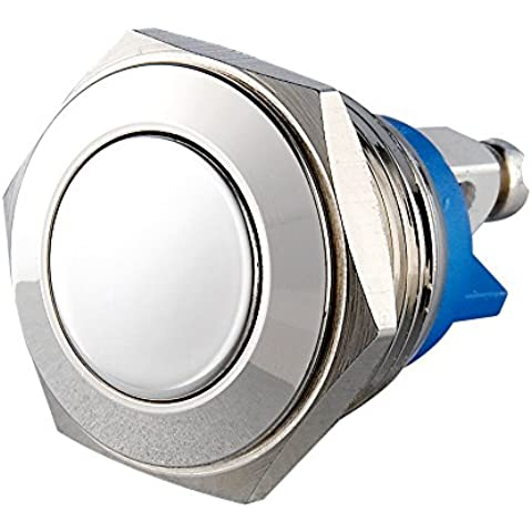 Generic 16mm antivandálico de cabeza plana de metal momentáneo 1NO impermeable pulsador interruptor de latón níquel