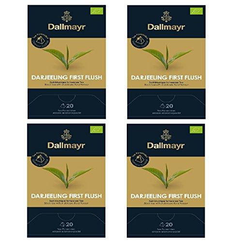 4 x Dallmayr First Flush Darjeeling BIO Schwarzer Tee 20 Pyramiden a 2,5g