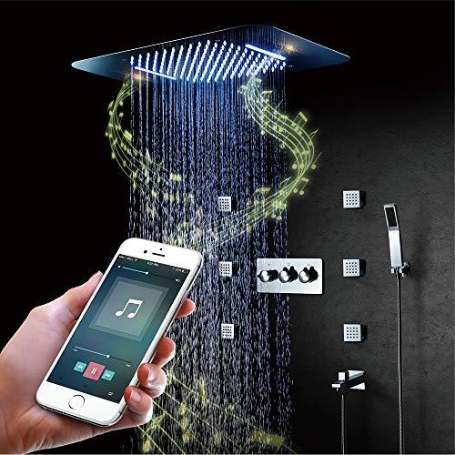 BILLY\'S HOME LED-Duschsystem, Intelligente Musik-Bluetooth-Regendusche mit Fernbedienung 580 × 380 mm