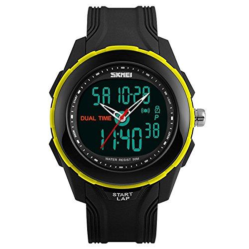 MODIWEN Outdoor Sport elektronische Digital Uhren mit Herren Wasserfest Army Military Armbanduhr gelb