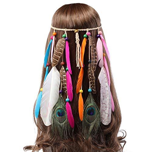 AWAYTR Feder Kopfschmuck Hippie Festival Stirnband - Bedrucktes Federband für Frauen Kostüm Boho Einstellbar Haarband für Mädchen Maskerade Kopfstücke (Gedruckt - Pfauenfeder)