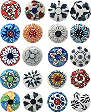 Ajuny 10 متعدد الألوان خمر نظرة زهرة السيراميك مقابض باب خزانة درج خزانة خزانة خزانة سحب