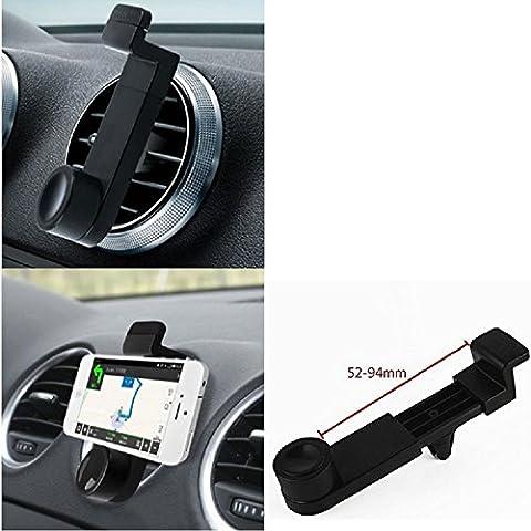 Titular Smartphone para el coche para Sony, Samsung, Huawei, Apple, Motorola, Medion, UHAPPY, Haier, Leagoo, Cubot, TIMMY, odys, Blackview, Uhans. Parrilla del coche montaje del sostenedor del coche para el teléfono inteligente. De aplicación universal. Negro. Fácil de instalar, sujeción segura. Utilizar el teléfono como un dispositivo de navegación, o hacer llamadas durante la conducción a través del kit de coche. Simple, funcional, segura, cómoda,