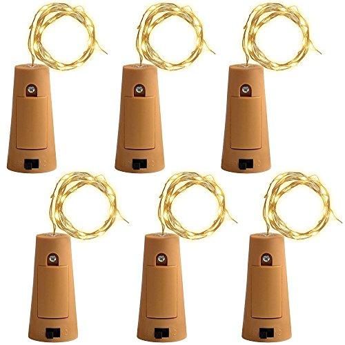 6PCS 75cm Kork Micro LED Licht für Weinflasche, gzqes, Licht der Folge des Draht Kupfer des Kork, Lampe DIY Hochzeit Weihnachten Bar Deco Geschenk oder Abend Lichter, Licht Weinflasche Stopfen, gelb