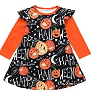 Taiduosheng Halloween Toddler Baby Girl Dress Pumpkin Print Dresses Party Halloween Costume Clothes Sets 100 Orange