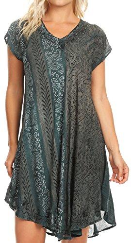 Sakkas 18701 - Salina Damen Crinckle Cap Sleeve V-Ausschnitt Top Tunika Bluse Pailletten & Print - Petrol - OSP