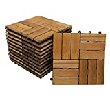 SAM Terrassen-Fliesen 02, Akazien-Holz, FSC® 100%, 11er Spar-Set für 1m², 30x30cm, Klickfliese, Bodenbelag mit Drainage