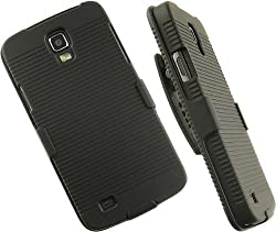 Dream Wireless Samsung Galaxy S4 Active/I9295/I537 Snap-On Case with Holster Combo - Retail Packaging - Black