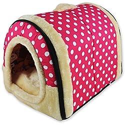 ANPI 2 en 1 Casa y Sofá para Mascotas, Rosa Lunares Lavable a Máquina Casa Nido Cueva Cama de Perro Gato Puppy Conejo Mascota Antideslizante Plegable Suave Calentar Con Cojín Extraíble, Medio