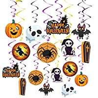 MIAHART 16 Pack Halloween Swirl Ceiling Hanging Decorations,Included Bats, Spider, Ghost, Pumpkin Witches Ceiling Decorations for Halloween Party