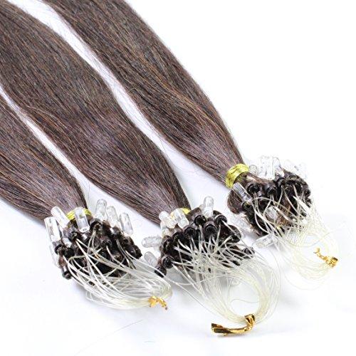 Just Beautiful Hair and Cosmetics Lot de 100 extensions Remy Loop avec micro anneaux pour pose à froid Brun (2) 60 cm
