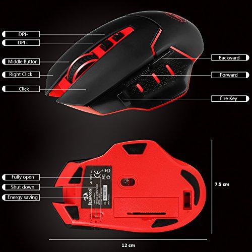 Redragon® M690 4800DPI Wireless Gaming Maus für Pro Gamer, 500Hz Rücklaufquote , 6 einstellbare DPI, Ergonomische Maus mit 7 programmierbaren Tasten