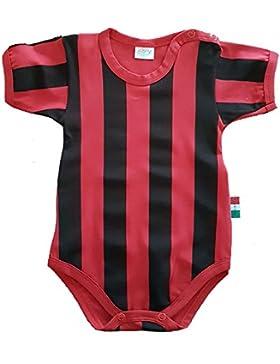 Zigozago - Body Spielanzug Baby mit schwarzen und roten Streifen - MILAN - 100% Baumwolle