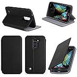 Etui luxe LG K10 4G noir Ultra Slim Cuir Style avec stand - Housse coque de protection smartphone LG K10 noire - accessoires pochette XEPTIO case