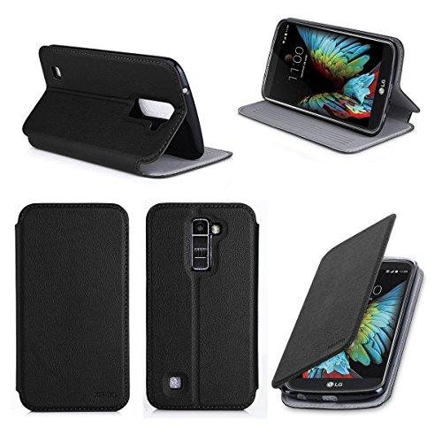 XEPTIO Etui LG K10 4G Noir Ultra Slim Cuir Style avec Stand - Housse Coque de Protection Smartphone LG K10 Noire - Accessoires Pochette Case