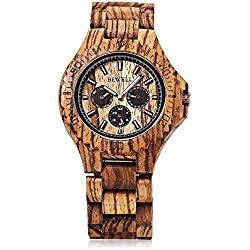 GBlife Bewell Natural Wooden Unique Design Quartz Wristwatch Luminous Display with date