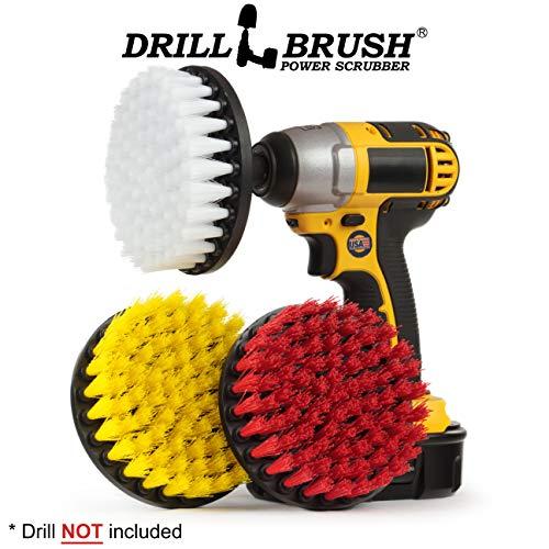 Drill Pinsel - Mehrzweck-Spin-Bürsten-Combo Kit - Steif, Soft, Medium Borste Bürsten - Pool Brush - Vogel-Bad - Granit - Lederreiniger - Bad-Accessoires - Seifenschaum, Hartwasserflecken (Lkw-wasch-kit)
