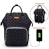 Large Capacity Diaper Bag Nappy Changing Backpack with USB Charging Port and Stroller Straps Anti-theft Waterproof Wide Shoulder Nappy Bag Travel Laptop Backpack Organizer[Upgraded Version] (Black Polka Dot)