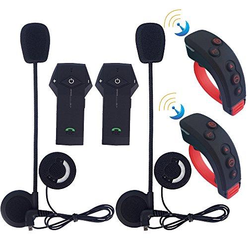 Amp Stereo-bluetooth Auto (2 Stück x FreedConn Motorrad Intercom Bluetooth Headset Stereo Freisprecheinrichtung BT Intercom mit Fernbedienung Unterstützt NFC, FM Radio, 1000M)