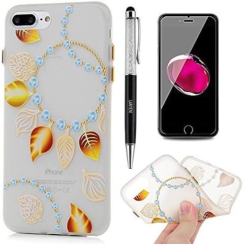 iPhone 7 Plus Funda - Lanveni Carcasa Suave Flexible TPU Gel Silicona ultra delgado para iPhone 7 Plus 5.5 pulgadas Luminoso Protective Case Cover - Patrón Hojas de Perlas Diseño + lápiz capacitivo + Película de Cristal Templado