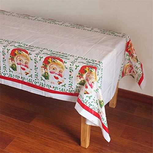 Santa 2 Stück Set (Hocai Einweg-Weihnachtstischdecke Kunststoff 42,5 x 17,9 cm rechteckig Tischdecke Weihnachten Dekoration (Set von 2 Stück), Santa Claus, 42.5 x 70.9 in)