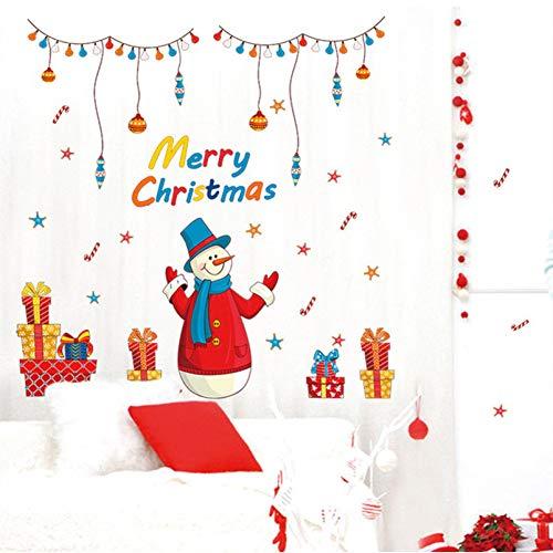 GZZQTT Feliz Navidad Decoración para El Hogar Etiqueta De La Pared Decorativa De Dibujos Animados Muñeco De Nieve Regalo Etiqueta De La Ventana Creativo DIY Decoración Wallpaper