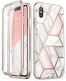 i-Blason Coque iPhone XS Coque iPhone X, Coque Complète Brillante Marbre Antichoc...