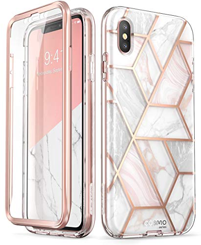 i-Blason iPhone XS Hülle iPhone X Hülle Glitzer Handyhülle Ganzkörper Bumper Case Glänzend Schutzhülle Cover [Cosmo] mit integriertem Displayschutz für iPhone X/iPhone XS (5.8 Zoll), Marmor