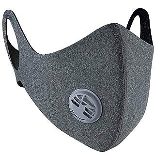 Staubdicht Maske, Fahrrad Maske mit Ohrbügel verstellbarer Klettverschluss und Aktivkohlefilter, hochelastisch, umweltfreundlich für die Reinigung im Garten des Sporttrainings (Atemventil, Grau)