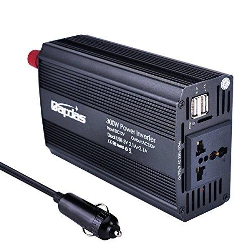Bapdas Kfz-Wechselrichter / Spannungswandler, 300 W, DC 12 V auf AC 230 V, 220V inkl. USB-Anschlüssen (4,2 A) für Laptops, Tablets und Handys