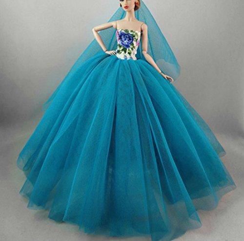 Stillshine BU-02 Schöne und Modische Handgefertigte Elegante schöne Hochzeit Abend-Partei-Kleid für Barbie Puppe(Puppen Nicht im Lieferumfang Enthalten)