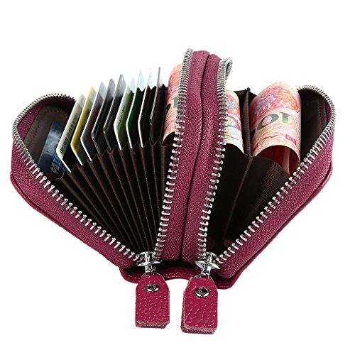 Mcvilla Echt Leder Scheckkartenetui Kreditkartenetui Visitenkartenetui Geldbeutel Minibörse RFID-Blocking (Rot) Pink