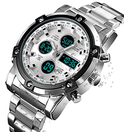 BHGWR Herren Analog Digital Quarz Uhr mit Silber Edelstahl Armband, Herren Militär Sportuhr mit Wecker/Countdown/Stoppuhr, großes Gesicht wasserdicht Digitaluhr Armbanduhr für...