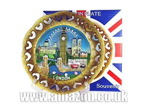 London Souvenir 15cm Decorative Plate, Cut Out, Detailing London Skyline