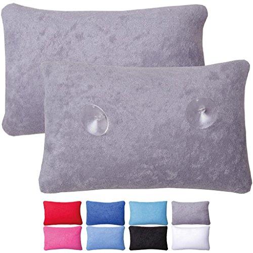 Luxus Badewannenkissen Farbe: anthrazit mit Saugnäpfen Badewannen Kissen Nackenkissen mit Microperlen