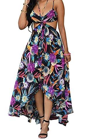 Bling-Bling Multi-color Floral Maxi Dresst(Black,M)
