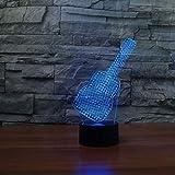 7 Farben, die Nachtlicht ändern USB 3D Entertainment Gitarrenform Tischlampe LED Schlafzimmer Schlaf Dekor Geburtstag Weihnachtsgeschenk